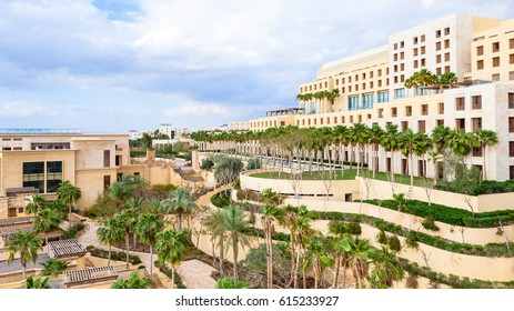 DEAD SEA, JORDAN - FEBRUARY 19, 2012: view of Kempinski resort hotel Ishtar on Dead Sea in winter season. It is the largest spa in the region with square 10000 Sqm and best hotel Spa in Jordan