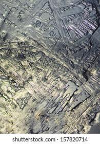 Dead Sea salt crystals precipitated in bundles on an irregular grid