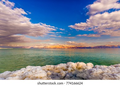 Dead Sea salt formations and clouds