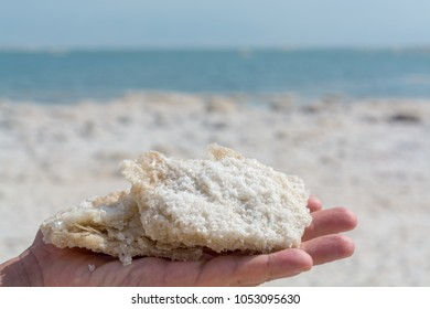 Dead sea salt, full of minerals near town Ein Bokek, place for medical treatments, climatotherapy, thalassotherapy, heliotherapy