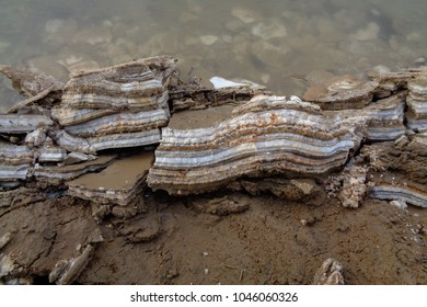 Dead Sea salt layers