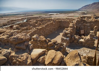 Dead Sea Scrolls, one of the caves in which the scrolls were found at the ruins of  Qumran in the desert of Israel