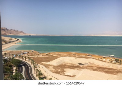 Dead Sea view in israel- The lowest point on Earth, near a road.