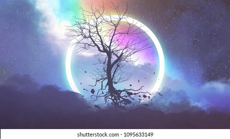 dead tree without leaves floating in front of light ring, digital art style, illustration painting