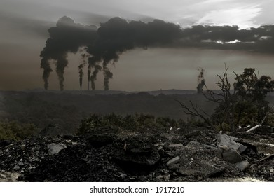 Dead trees, smog and dirty stuff, with smoke stacks in the background blocking out the sun.