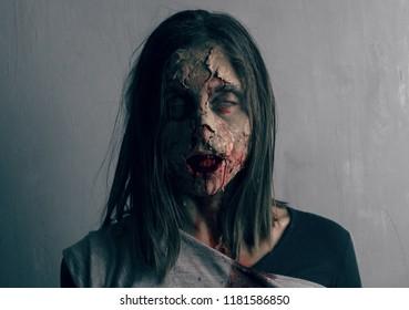 dead woman zombie. horror halloween concept