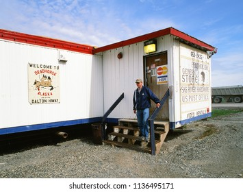 DEADHORSE, ALASKA - JULY 2006: Deadhorse is an unincorporated community in North Slope Borough, United States, along the North Slope near the Arctic Ocean. Pictured is General Store and US Post Office