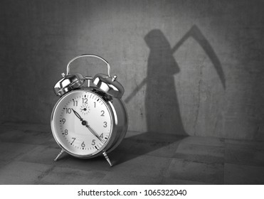 Deadline concept. Time to living. Alarm clock cast shadow in form of death with scythe. 3d illustration
