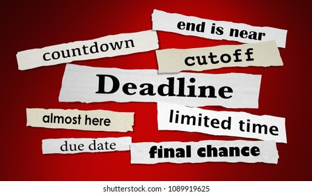 Deadline Countdown Cutoff Newspaper Headlines 3d Render Illustration