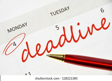Deadline text in the calendar