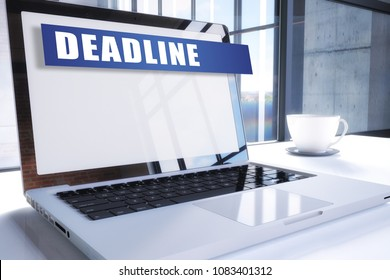 Deadline text on modern laptop screen in office environment. 3D render illustration business text concept.