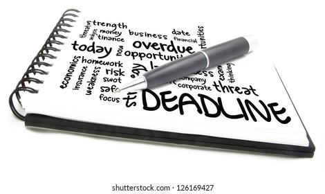 deadline word cloud notes