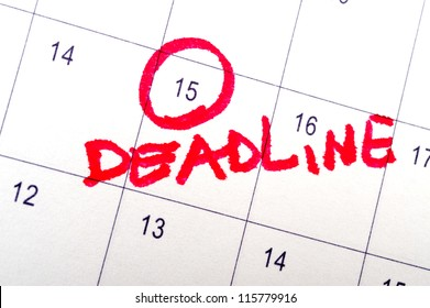 Deadline word written on the calendar