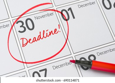 Deadline written on a calendar - November 30