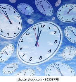Deadlines and urgent business appointments as a last minute symbol of the stress of running out of time with clocks and watches floating in space over a blue sky background.