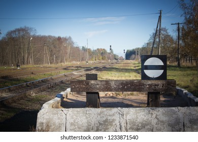 Deadlock on the railway. The sign is a dead end. Railway stop sign.