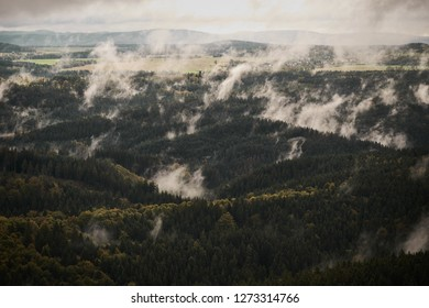 Deadpan dark misty rainy morning landscape with the sand rocky montains in Czech Saxon Switzerland in autumn colors.