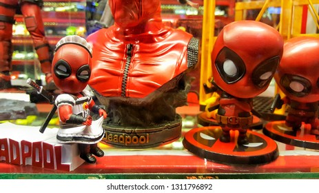 Deadpool model toy display in anime store. Sriracha, Chonburi THAILAND Dec 18, 2018