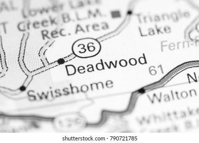 Deadwood. Oregon. USA on a map.