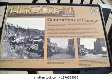 Deadwood, S.D. U.S.A. Sept. 14, 2018.  History Link: A Trail to Deadwood's Past plaques offer pictorial history to visitors of by-gone days, fires, and historical buildings