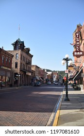 Deadwood, S.D. U.S.A. Sept. 14, 2018.  Deadwood Main Street of hand-set red brick offers visitors unique shops, vintage buildings and lodging, boutiques, historical saloons, fine dining & casinos