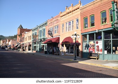Deadwood, S.D. U.S.A. Sept. 14, 2018.  Deadwood Main Street of hand-set red brick offers visitors unique shops, vintage buildings and lodging, boutiques, historical saloons, fine dining and casinos