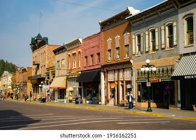 DEADWOOD, SD, USA - SEPTEMBER 15, 2020: Shops, saloons, and other attractions bring visitors to historic Main St. in this Black Hills gold rush town, famous for outlaws and entrepreneurs alike.
