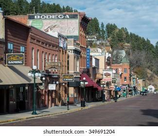 DEADWOOD, SOUTH DAKOTA - NOVEMBER 1: Historic downtown on Lower Main Street on November 1, 2015 in Deadwood, South Dakota
