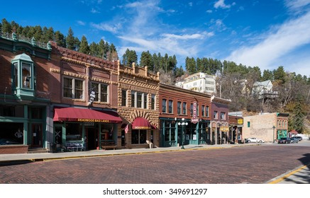DEADWOOD, SOUTH DAKOTA - NOVEMBER 1: Historic downtown Main Street on November 1, 2015 in Deadwood, South Dakota