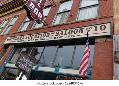 DEADWOOD, SOUTH DAKOTA, September 25, 2018 : Historic saloon in Deadwood. The entire city is a National Historic Landmark District for its well-preserved Gold Rush era architecture.