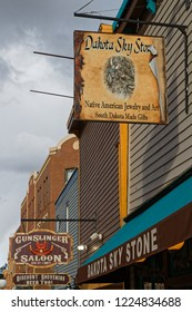 DEADWOOD, SOUTH DAKOTA, September 25, 2018 : Stores in Deadwood. The entire city is a National Historic Landmark District for its well-preserved Gold Rush era architecture.