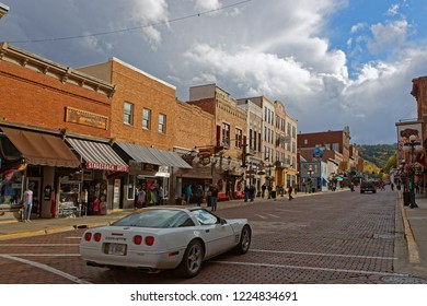 DEADWOOD, SOUTH DAKOTA, September 25, 2018 : Streets of Deadwood. The entire city is a National Historic Landmark District, for its well-preserved Gold Rush era architecture.