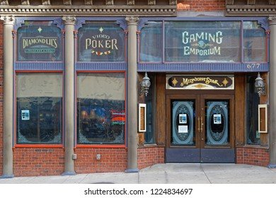 DEADWOOD, SOUTH DAKOTA, September 25, 2018 : Casino in Deadwood. The entire city is a National Historic Landmark District for its well-preserved Gold Rush era architecture.