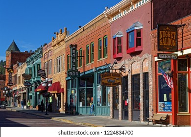 DEADWOOD, SOUTH DAKOTA, September 26, 2018 : Streets of Deadwood. The entire city is a National Historic Landmark District, for its well-preserved Gold Rush era architecture.