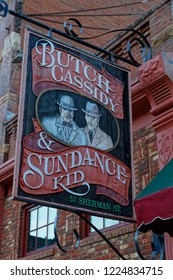 DEADWOOD, SOUTH DAKOTA, September 26, 2018 : Saloon sign in Deadwood. The entire city is a National Historic Landmark District for its well-preserved Gold Rush era architecture.