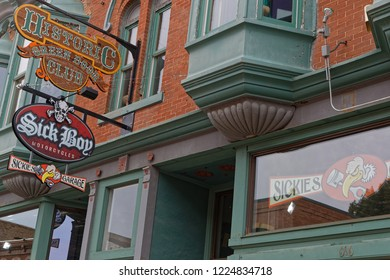 DEADWOOD, SOUTH DAKOTA, September 26, 2018 : Saloon in Deadwood. The entire city is a National Historic Landmark District for its well-preserved Gold Rush era architecture.