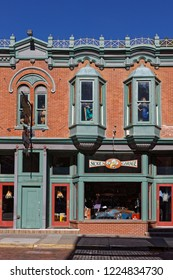 DEADWOOD, SOUTH DAKOTA, September 26, 2018 : Stores in Deadwood. The entire city is a National Historic Landmark District for its well-preserved Gold Rush era architecture.