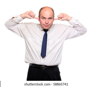 Deaf businessman holding hands over ears on white background. Three mokeys concept.
