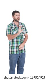 Deaf or hearing impaired man with in chequered shirt making signs with his hands