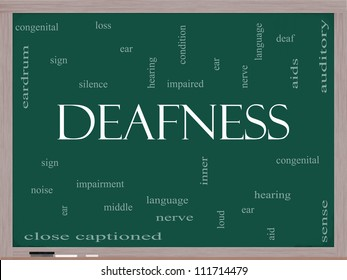 Deafness Word Cloud Concept on a Blackboard with great terms such as nerve, deaf, hearing, ear, aid, silence and more.