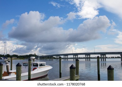 Deal Island, Maryland, USA - September, 2, 2018: A skipjack is moored is the  Deal Island Marina ahead of the annual Skipjack Races and Festival.