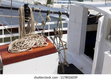 Deal Island, Maryland, USA - September, 2, 2018: A view of a skipjack helm and cabin prior to the annual Deal Island Skipjack Races and Festival.
