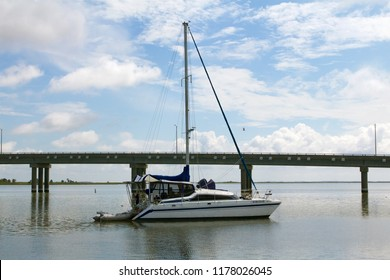 Deal Island, Maryland, USA - September, 2, 2018: A skipjack sailboat arrives for annual Deal Island Skipjack Races and Festival.