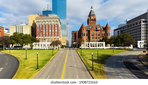 Dealey Plaza, city park and National Historic Landmark in downtown Dallas, Texas. Site of President John Fitzgerald Kennedy assassination in 1963. - Shutterstock ID 1908723163