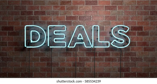 DEALS - fluorescent Neon tube Sign on brickwork - Front view - 3D rendered royalty free stock picture. Can be used for online banner ads and direct mailers.