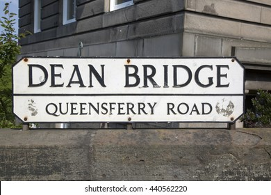 Dean Bridge Street Sign; Edinburgh; Scotland; Europe