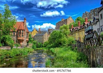 Dean Village in Edinburgh on a beautiful sunny day.