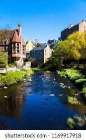 Dean Village in Edinburgh, Scotland on a sunny summer day