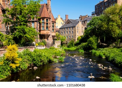 Dean Village and water of Leith. Edinburgh, UK.