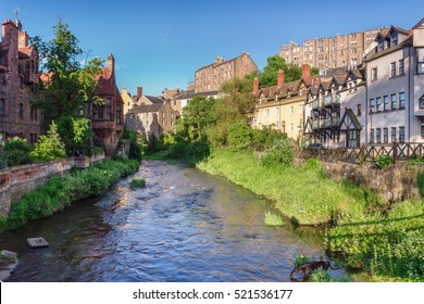 Dean Village with the water of Leith. Edinburgh, Scotland, UK